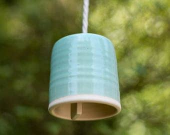 Handmade Large Blue Cylindrical Ceramic Bell Wind Chime Ready To Ship