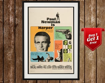 Harper - Vintage Movie Poster, Paul Newman, Lauren Bacall, Action, Crime, Drama, Movie Print, Retro Movie Poster, Classic Movie Poster