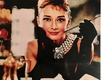 AUDREY HEPBURN Iconic Breakfast at Tiffany's Hand-Signed Autograph Photograph with COA