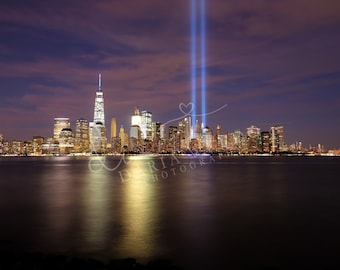 NYC Skyline, 9/11 WTC Memorial Lights, Long Exposure, City, Wall Art, Print