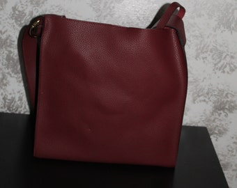 Maroon leather tote