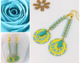 "Earrings sequin motif ""turquoise/yellow/gold"" chic and trendy"