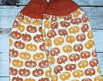 Crochet Top Towel, Halloween Decor, Jack O Latern Dishtowel, Halloween Hand Towels, Set of 2