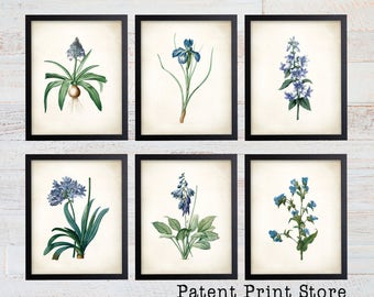 Blue Botanical Art Prints. Blue Flower Prints. Flower Wall Art. Botanical Print. Kitchen Art Prints. Dining. Botanical Wall Art. Farmhouse.