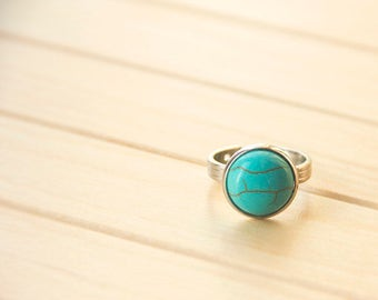 The ring with turquoise-Ring-Adjustable Ring - Jewelry Branches