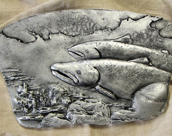 Bas Relief Wall sculpture Atlantic salmon Original 3D wall art by SyzymStudio Home office decor Unique gift for fisherman Silver gold tile