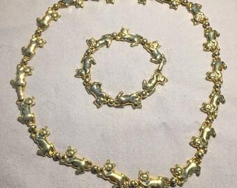 Gold Cat Necklace and Bracelet Set