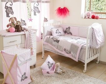 Pink Monkey Crib Bedding Collection 4 Pc Crib Bedding Set