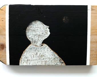 Original painting, painting, painting on wood, single bracket, figurative painting, woodcut