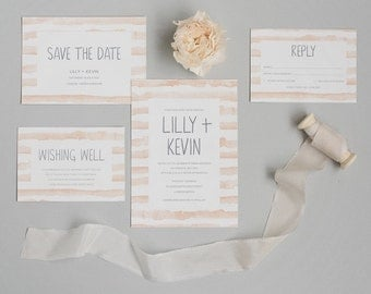 Peach Watercolour Wedding Invitation and RSVP - Modern Rustic Wedding Invitation - Spring Wedding Invite - Rustic Wedding Stationery