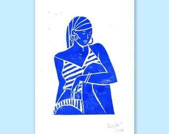 Stripes - A5 Linocut print