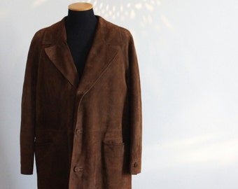 Men's 60s brown long suede leather coat