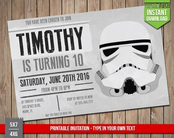 STAR WARS Invitation - Disney Star Wars Stormtrooper Invite, Editable Text PDF Birthday Party Invitation, Instant Download