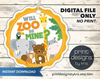 Valentine Badge - School Valentines Tag - Zoo Valentine Badge - Instant Printable Valentine Tag - Instant Download Valentine Tags