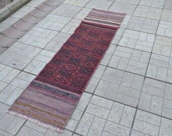 Kilim runner. Vintage kilim rug. Turkish kilim rug. Turkish vintage kilim. Free shipping. 6.8 x 1.7 feet.