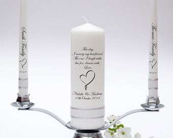 Wedding Unity Taper Candle Set - Inscription Design. Fully Personalised & Handmade in UK.
