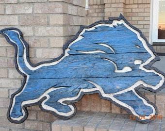 Detroit lions wood art, distressed wood wall art, detroit lions wood sign, lions wall art, detroit lions decor, lion wood logo, lions wood