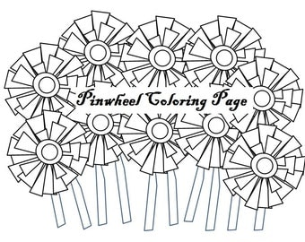 Pinwheel coloring page, adult coloring book, coloring pages, printable coloring pages