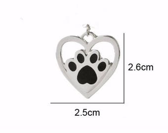 1pcs Fashion Love Heart Charm Animal Pet Dog Cat Paw Pendant,Footprint Charms, Heart Charms For Necklace Sliver Jewelry