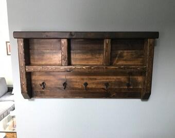 Dark Walnut Rustic Coat Rack with Hooks, solid wood