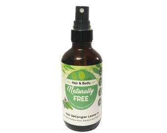 Detangling Hair Leave In Conditioner w/ Marshmallow Root, Curry Leaf, Bamboo & Peppermint 4 oz - Nut Free - Paraben Free - Organic