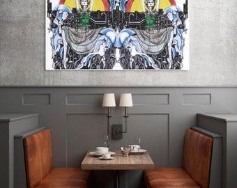 Inspiration from art Medusa and  Ballerina Print White