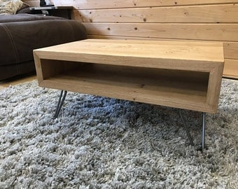 Solid Oak Chunky Box Style TV Stand - Retro - Industrial - Entertainment Unit - Hairpin Legs