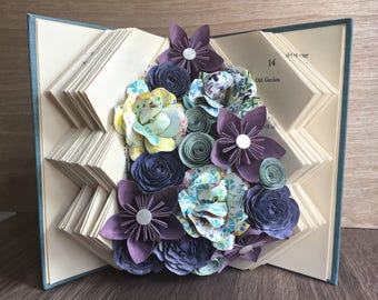 Lost Waters Book Art Sculpture - Folded Book Art Sculpture - Altered Book - Paper Flowers - Recycled Book - Home Decor - Unique Gift