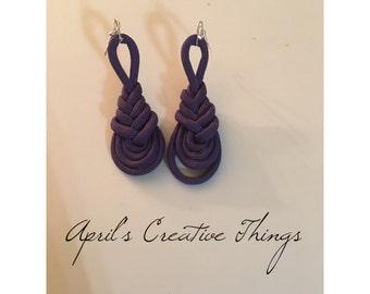 Purple Paracord Pipa Knot Earrings