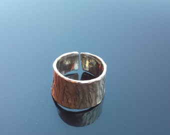 Samuel ring 999.9 fine silver, jewelry, Silverring, jewelry, design gloss effect on Matt hammered surface, wide with patterns in polished