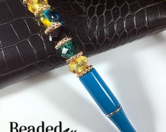Teal & Gold Jeweled Pen
