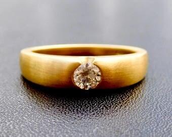 18ct yellow gold & diamond engagement ring, contemporary style engagement ring, rub over diamond wedding ring, flush set diamond ring