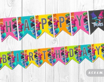 Trolls Banner, Trolls Birthday Banner, Trolls Buntings, Trolls Party Decoration, Trolls Printable Banner, Trolls Party Decor, Happy Birthday