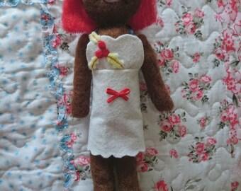 """OOAK Handmade Needle felted Christmas tree """"Holly"""" doll figure."""