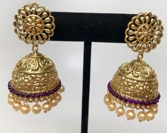 Ronak Series - flower gold plated jhumkas with purple Beads and gold pearls, filigree jhumka, victorian earrings, indian jhumka,