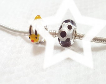 Brown Dot Clear Glasscharm by Urinamu(Available in both Pandora and trollbeads's bangle)