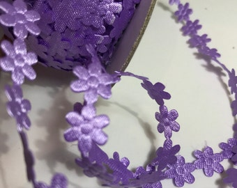 Flower sewing trim, purple flower trim, sewing trim, daisy trim, haberdashery,satin ribbon, dress making, crafts,