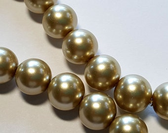 10mm Beige round glass pearl beads  16 inch strand