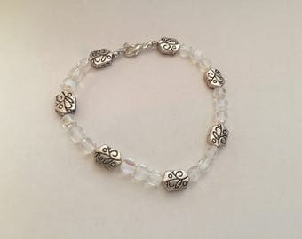 Silver and clear bracelet