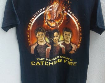 Vintage Rare!! The Hunger Game: Catching Fire Nice Design Movie Tshirt