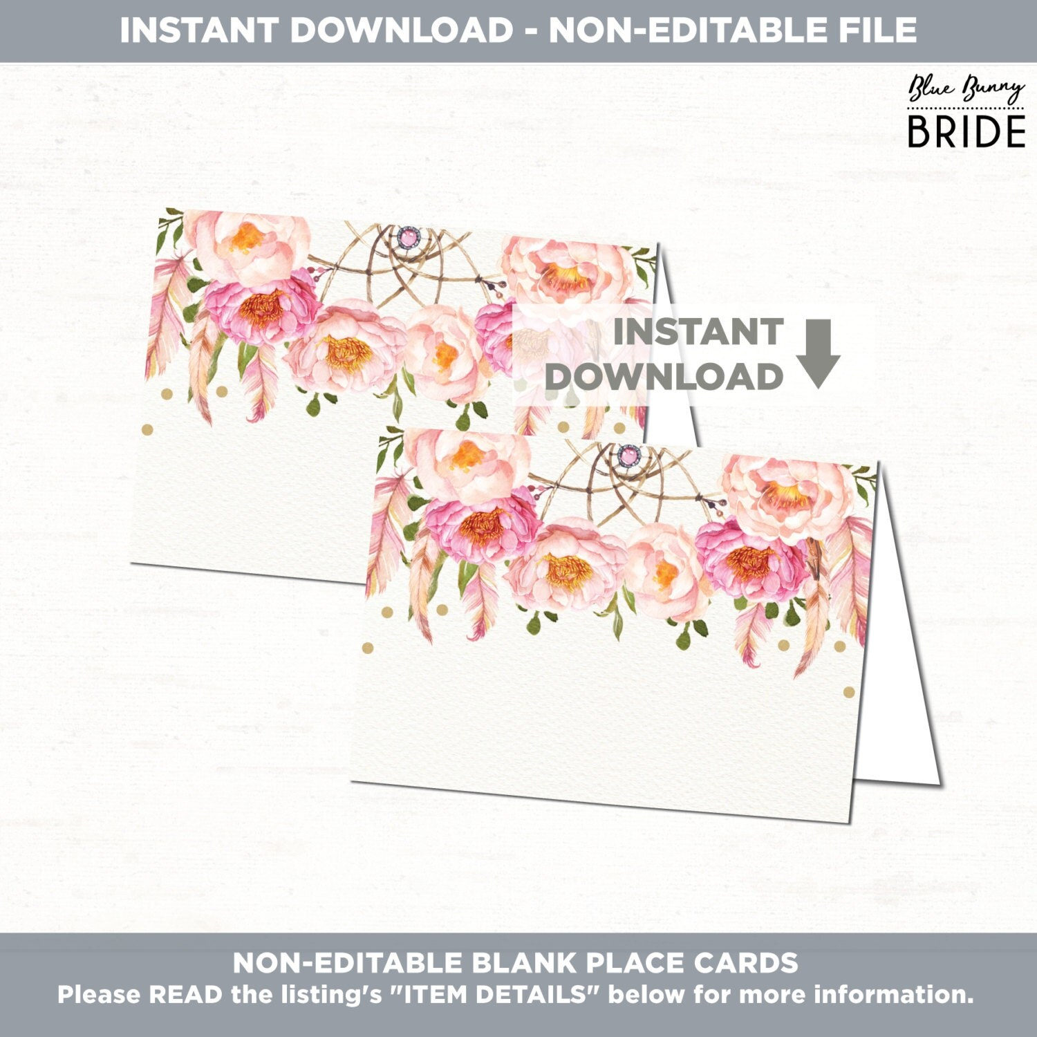 Wedding Place Cards Boho Floral BLANK Place Cards Seating Cards