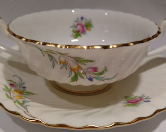 Footed Cream Soup Bowl & Saucer Set in Bromley by Mintons