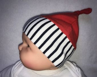 Baby white stripes first Cap Red