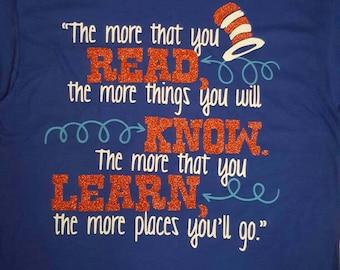 Dr. Seuss The more you read//Read Across America//Teacher Gift