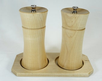 Salt & Pepper Mills with Base (Maple)