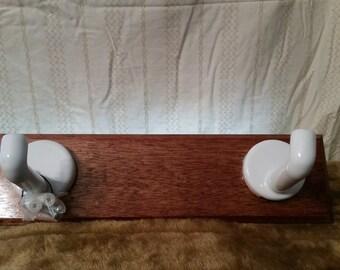 Mahogany Coat Rack with Ceramic hooks