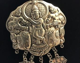 Large pendant Krishna, Ganesha necklace; Silver Krishna pendant; Silver Necklace; Indian Traditional ethnic wear; Indian Silver necklace