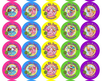 30 Personalized Shopkins Lollipop labels, Cupcake Toppers, Stickers, Favors Any Variety (Changes OK) FREE SHIPPING