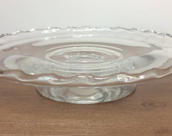 Fostoria Century Pressed Glass Footed Cake Plate / Pedestal Cake Stand