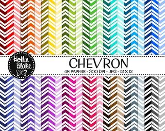50% off SALE!! 48 Chevron Digital Paper • Rainbow Digital Paper • Commercial Use • Instant Download • #CHEVRON-133-2